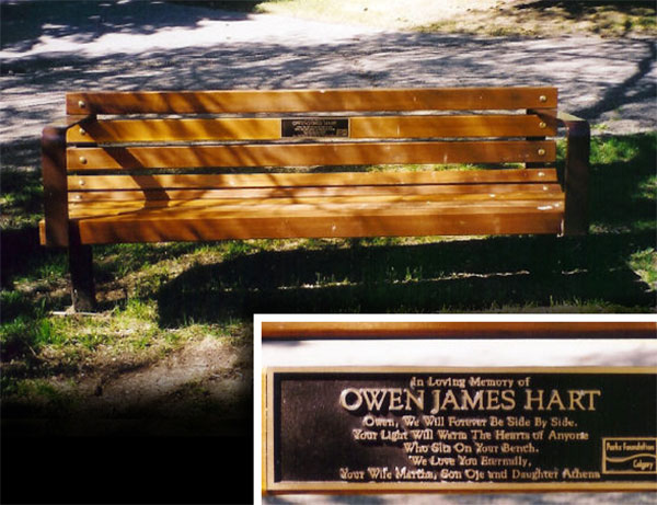 owen hart memorial bench