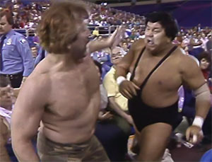 Wahoo takes on Colone Debeers. AWA Wrestlerock, 1986. photo: youtube.com